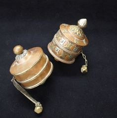 2 Amazing Copper/Brass Spiritual Tibetan Buddhism Prayer Wheels w/ Scrolls