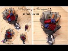Korean Wrapping Bouquet - How to Wrap Flowers - S Nuraeni Felt Flower Bouquet, Bouquet Wrap, Hand Bouquet, Diy Bouquet, Felt Flowers, Diy Flowers, Graduation Celebration, Graduation Gifts, Felt Diy
