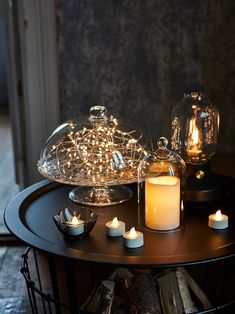 Flickering Lights, Led Candles, Ikea Arv, Cake Stand With Lid, Tapas, Light Decorations, Table Decorations, Decorating With Fairy Lights, Home Decor