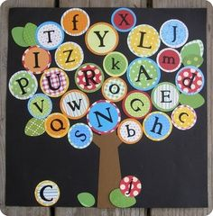 Create an alphabet tree in your primary classroom! (Durable canning lids to use as alphabet manipulatives for games, spelling, and alphabetizing) Preschool Classroom Decor, Preschool Rooms, Preschool Bulletin Boards, Classroom Design, Kindergarten Classroom, Preschool Activities, Primary Classroom, Classroom Ideas, Shape Activities