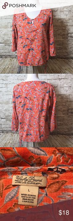 """Lucky Brand L Orange Floral Peasant Top Shirt Excellent condition. Measures about 24"""" from the shoulder to the bottom and 22"""" armpit to armpit. Lucky Brand Tops"""