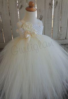 Ivory & White flower girl tutu dress, Flower girl dress, Wedding