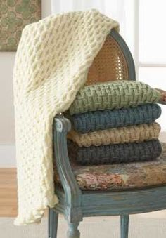 Free Knitting Pattern - Afghans & Blankets: Cushy Smocked Throw