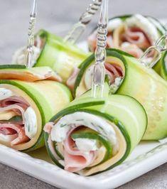 Recettes pour un apéro dinatoire : roulés de concombres au jambon et à la crème à l'aneth
