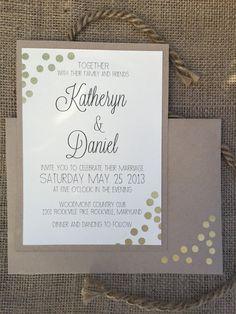 Confetti Gold Wedding Invitation, Modern, Simple & Elegant