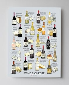 Wine and Cheese Pairing Poster with Gray Background and illustrations