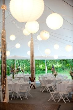 Pretty lanterns and string lights at the Full Moon Resort in the Catskills {via Project Wedding} Wedding Reception Lighting, Tent Wedding, Reception Decorations, Our Wedding, Wedding Venues, Dream Wedding, Tent Decorations, Wedding Lanterns, Summer Wedding