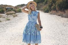 Vintage 50s Dress/ 1950s Cotton Dress/ Light Blue Brushstroke Floral Dress w/ Full Skirt S on Etsy, $145.00