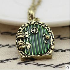 31X24MM Hobbit Door Locket Necklace Fairy Door Charm,Photo locket,DIY setting locket,good luck charm