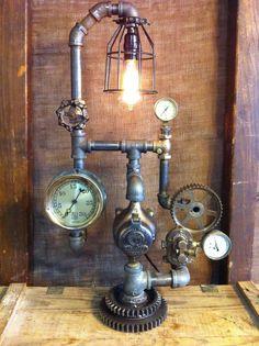 Steampunk Lamp Industrial Art Machine Age Light Steam Gauge Industrial Light