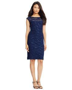 Sequined Lace Dress - Lauren Short Dresses - RalphLauren.com