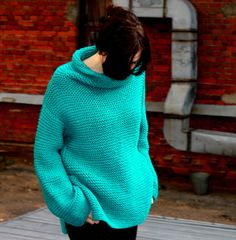 Unfortunately the photo CANT show real color of the sweater... its bright juicy turquoise. Womens warm hand-knitted chunky slouchy sweater,
