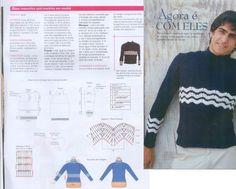 Мужской синий свитер крючком,мужской свитер крючком схемы,