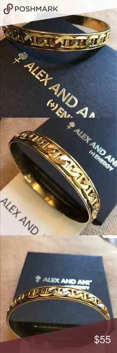 Stunning Alex and ANI Men's Gold Link Bangle Alex and ANI Men's Gold Link Bangle in Excellent condition for age.  A nice solid and heavy Bangle with Link design on Russian Gold Bangle.  This Bangle was designed by Alex and ANI for their Men's collection but can be worn as a larger loose Bangle by a woman.  Will come with A&A box and card.  Price Firm. Alex & Ani Accessories Jewelry