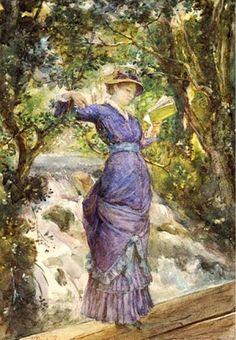 Bashkirtseff, Marie (1858-1884) Girl reading by a waterfall