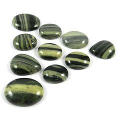 10Pc Green Silver Line Jasper Wholesale Lot Handcrafted Jewelry Gemstone GS00152 #shining_gems #gemstones #jewelry