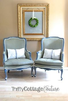A beautiful set of chairs painted Chalk Paint® decorative paint by Annie Sloan in Chateau Grey with Old White Piping on the fabric and a Custom Blend of Napoleonic Blue & Paris Grey for the body | By Thrifty Cottage Couture