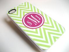 iphone case Lime Green and White Chevron iPhone 4 Case with Hot Pink Monogram  - iPhone 4 4S FLEXIBLE RUBBER CASE. $17.99, via Etsy.