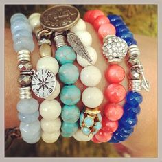Tiffany Jazelle Bracelets: Fashion with Meaning. Aquamarine, Riverstone, Turquoise, Coral and Topaz...spring beauty.