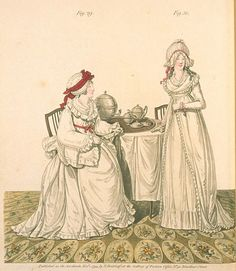"""Gallery of Fashion, Figures 29 and 30, November 1794. """"Breakfast in a dressing room"""" I want to live here!"""