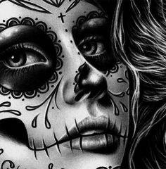 in Signed Art Print - Duality - Day of the Dead Sugar Skull Girl Black and White Tattoo Art Portrait Day Of The Dead Girl Tattoo, Day Of The Dead Drawing, Day Of The Dead Art, Chicano Tattoos, Chicano Art, Sugar Skull Girl, Sugar Skulls, Catrina Tattoo, Skull Girl Tattoo