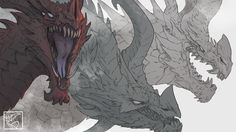 Here's the banner for my (not yet launched) Patreon page! This is just the background image, plus little signature dealy. The actual banner has text all over it, so I wanted to show off just the art itself.I actually fully painted the dragon on the left, but it looked too out of place like that. The more muted version looks better with the linework and the rest of the piece. - pythosart [Pythos]