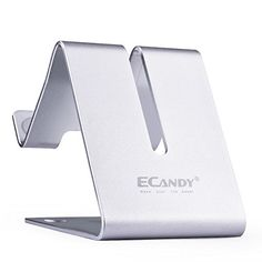 Ecandy Solid Aluminum Desktop Stand for iPhone 3G 3GS 4 4S 5 5C 5S 6 6+ Ipad 2,Ipad 3,Ipad 4,Ipad Mini ,iPod touch Samsung Galaxy S3 i9300 S4 9500 HTC Blackberry and most tablet,Silver