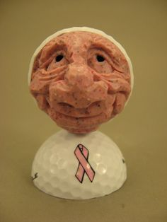 Hand Carved Caricature Golf Ball Freckles by CarvingsbyTony