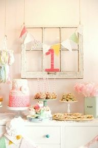 Another use for OUR white 6 pane chippy paint window frames!!! adorable shabby chic first birthday party