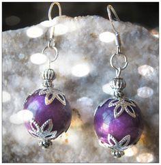Handmade Silver Hook Earrings with Purple Jade by IreneDesign2011