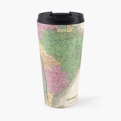 'vintage Map of South America' Travel Mug by ModernFaces Columbia South America, South America Map, America Memes, Map Design, Travel Aesthetic, Travel Abroad, Business Travel, Trip Planning, Travel Mug