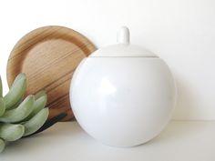 Sasaki Colorstone Sugar Bowl In Matte White, Massimo Vignelli Postmodern Covered Dish, Minimalist White Sugar Bowl by HerVintageCrush on Etsy
