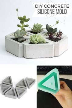 Cute concrete triangle planters. Perfect silicone mold to make small succulent or cacti flower pots. Best customizable planter with metallic or neon paint. #ad #concrete #siliconemold #mold #planter #flowerpot #concrete #homedecor #triangle #geometric #diy #craft