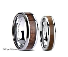 Tungsten Wedding Ring Koa Wood Inlay Band от Knotknotty Rings Pinterest Bands And Woods