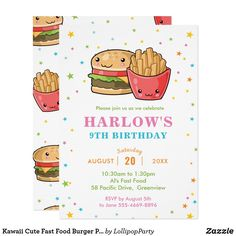 Kawaii Cute Fast Food Burger Party Girl Birthday Invitation