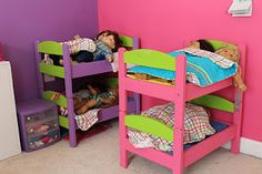 IKEA Hackers site. Their DUKTIG doll bed made into bunkbeds to hold American Girl dolls.  Save lots of money with this idea and what a great project to do with your little one.