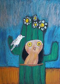 Ella, grade Delaney, grade Raya, kindergarten Her first art class with her big sister - what fun! Small Cactus Plants, Cactus Plant Pots, Cacti, Paper Cactus, Cactus Art, Elf Owl, Painted Rock Cactus, First Grade Art, October Art