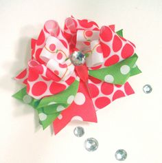 Girls Boutique Layered Hair Bow  Cherry Limeade  by bloomandbling, $8.00