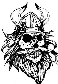 Viking warrior skull with a cool beard - tattoo flash