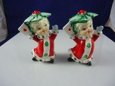 Vintage Christmas Holly Girls Salt & Pepper Set, Holt Howard-like, Made in Japan