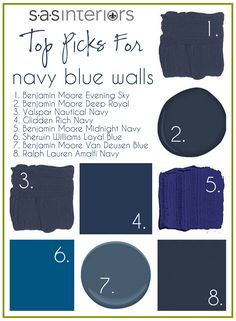 # 1, 2, & 3 almost read black to me ... perhaps they could be used as a soft black on doors ... see so many examples of painting doors black to enlarge a space and add elegance / drama  - Navy Blue Walls @Jennifer Cruz