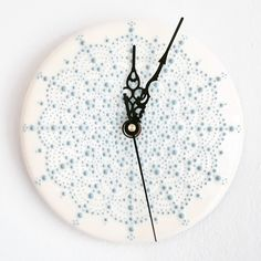 A white clock face with Malibu blue dot detail. I've had so many enquiries about clocks since I posted one on my story a few days ago - I'm… Ceramic Clay, Ceramic Pottery, Diy Clock, Clock Ideas, Malibu Blue, Coil Pots, White Clocks, Diy Crafts Hacks, Pottery Studio