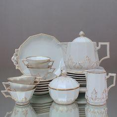 Nymphenburg: Teeservice Perl mit Gold Dekor Teekanne, Teetasse, 4979, tea set