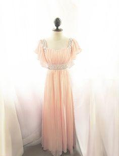 Great Gatsby Dress Medieval Egyptian Dusty Pink Peach Rose Butterfly Dreamy Alice in Wonderland Flowy Angel Marie Antoinette Vintage Gown