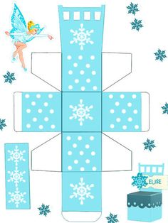 Nice Free Printable Chair Box with Snowflakes. Printable Box, Free Printables, Frozen Free, Paper Box Template, Diy And Crafts, Paper Crafts, Diy Gift Box, Gift Boxes, Pretty Box