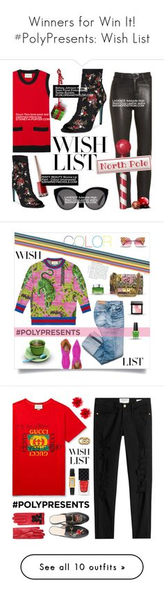 """Winners for Win It! #PolyPresents: Wish List"" by polyvore ❤ liked on Polyvore featuring Gucci, L'Agence, Betsey Johnson, contestentry, polyPresents, Lancôme, Derek Lam, Bobbi Brown Cosmetics, Frame and WishList"