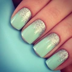 Tifanny Blue with silver French nail! So cute