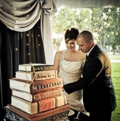 Step Let them eat cake! How To Have The Best Literary Wedding Ever Library Wedding, Wedding Book, Our Wedding, Dream Wedding, Storybook Wedding, Wedding Beauty, Perfect Wedding, Wedding Stuff, Wedding Themes