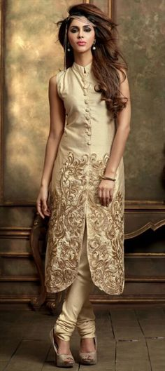441555 Beige and Brown  color family Bollywood Salwar Kameez in Silk fabric with Machine Embroidery work .