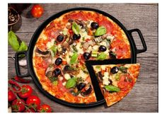 Cast Iron Pizza Pan 14 Inch Crisper Grilling Baking Cooking Pan Round Bakeware #HomeComplete